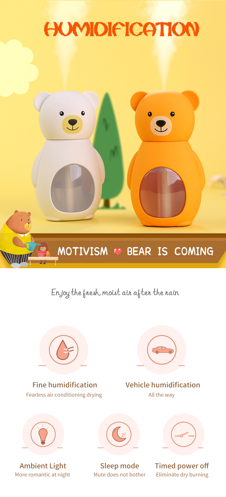 Hot selling cute bear cool mist mini huimidifier 160ml usb rechargeable office best gift items