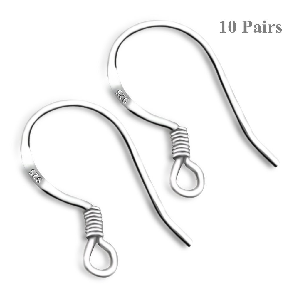 be051f2dc Get Quotations · SUSOKI 10 Pairs 925 Sterling Silver French Wire Earring  Hooks Fish Hook Earrings Sterling Silver Earwires