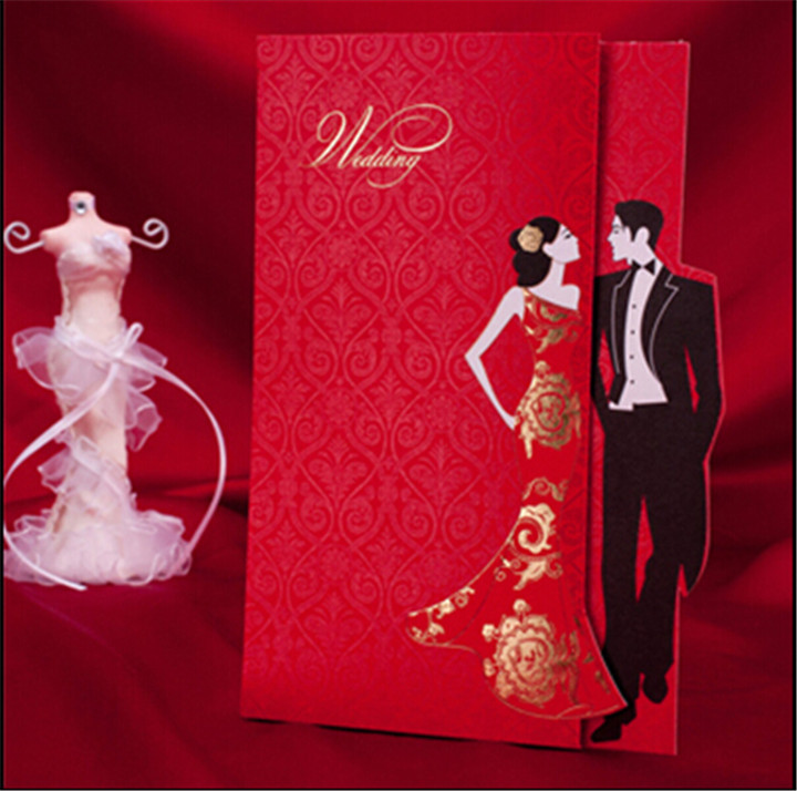 free shipping classic red chinese wedding invitation card