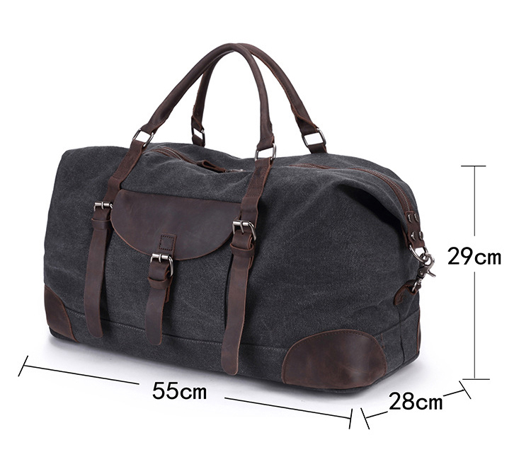 New design Amazon hot sale duffel canvas overnight travel weekender bag with leather