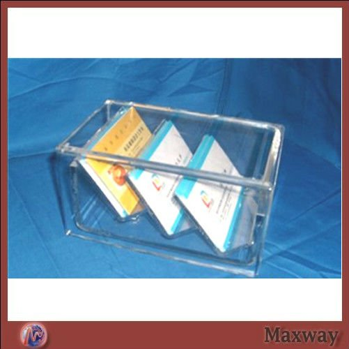 Transparent 3 Pockets Tableware Acrylic Curving Biz/Name Card Holder Shelf