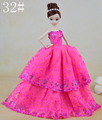 2015 New Design Rose Red Lace Flower Embroider Doll Dress Gown Fashion Outfit Clothing For 1