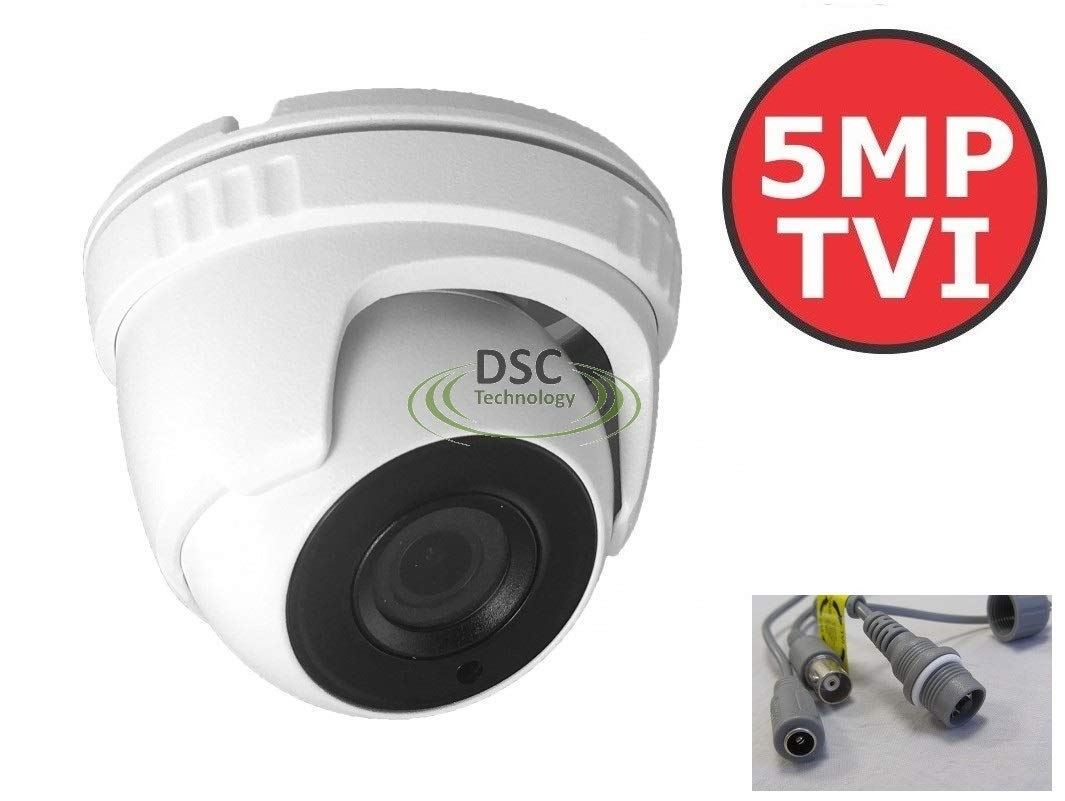 5MP 4-in-1 Turbo HD IR IP67 Rated (Outdoor/Indoor Use) Mini-Dome Camera with 2.8mm Fixed Lens (up to 5MP HD-TVI & AHD/4MP CVI), BNC Output, 12VDC