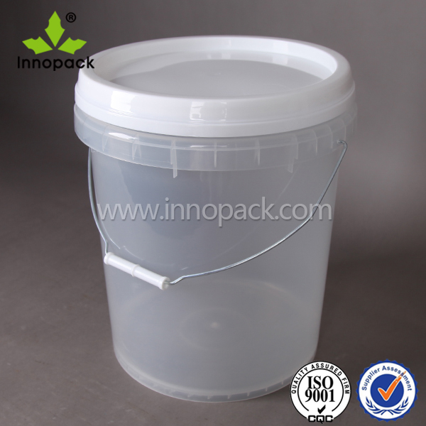 Clear 5 Gallon Plastic Printed Bucket With Lid With Handle