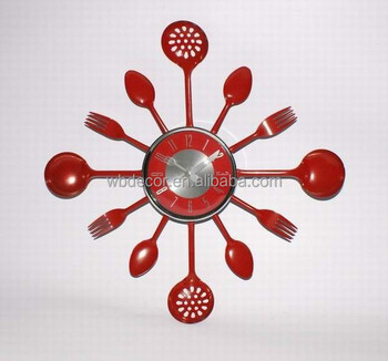 Exceptional Red Kitchen Wall Clock With Knife , Fork And Spoon Hands