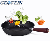 Geovein supplier wood handle flat bottom oil cast-iron frying pan with non stick