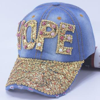 Stone Washed Denim Cap Distressed Crystal Blue Denim Women Men Baseball Cap  Custom Washed Denim Hat 37661b2ccc0
