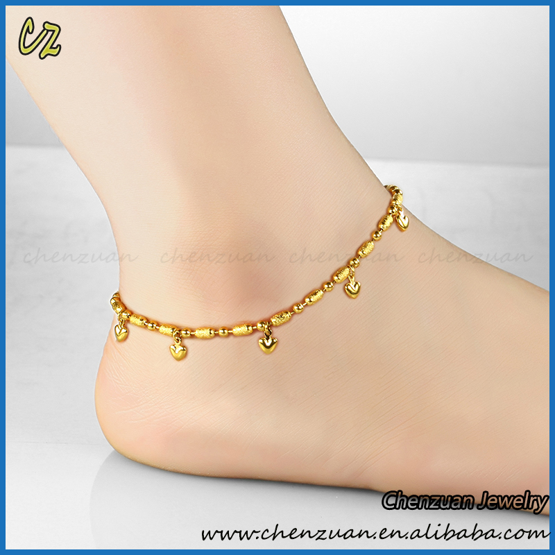 on jewelry bracelet rhinestone leg gold women for with plated a real anklets hearts fashion foot anklet product