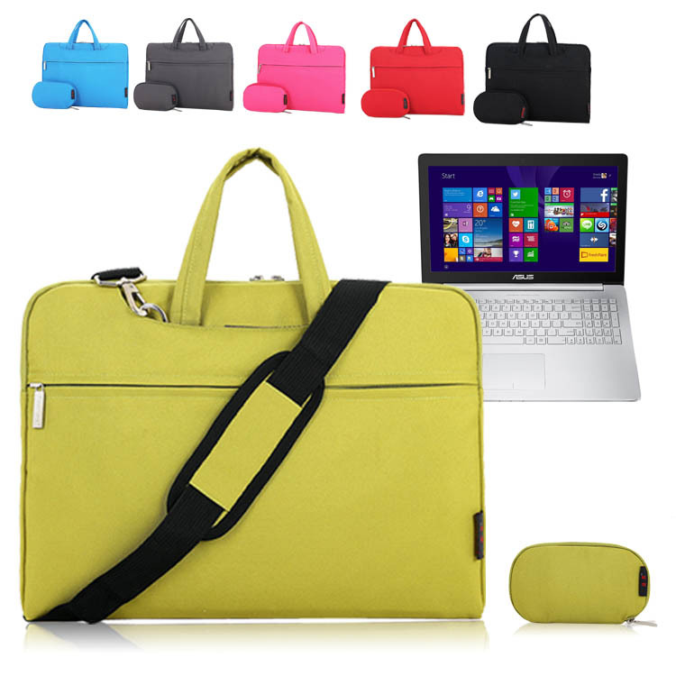 For ASUS ZenBook Pro UX501 15.6 inch Laptop Shoulder Bag Sleeve Carrying Case Briefcase w/ Handle & Strap + Accessories Pouch