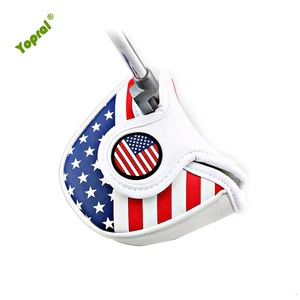 2018 Hot Sale PU Leather Embroidery USA America Mallet Golf Putter Head Cover