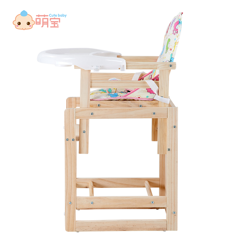Hot selling 2 in 1 multi-function baby folding high chair wood solid