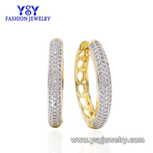 18k gold plated Big Round White Stone Cubic Zirconia Jewelry Hoop Huggie Earrings For Women