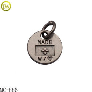 Round shape debossed letter logo metal pendent for jewelry