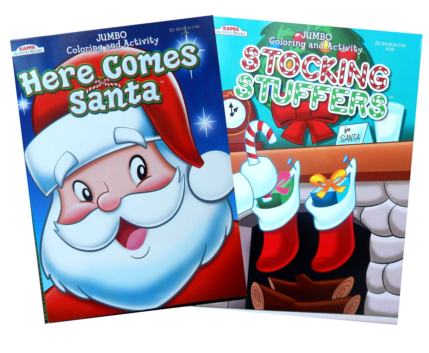 christmas coloring and activity book set here comes santa and stocking