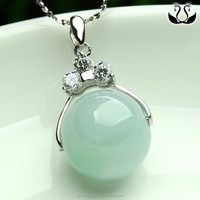 Newest Jewelry Fashion 925 Silver Zircon Natural Circular Green Jade Pendant