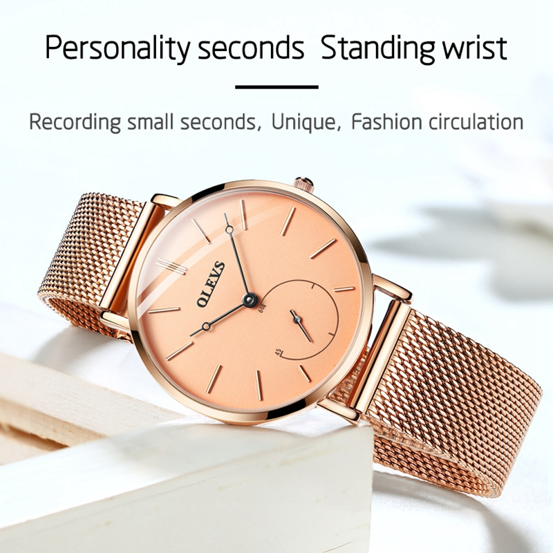 2019 OLEVS Fashion Women Watchesrose gold  Luxury Gift Set Top Quality Strap Multiple Time Zone women wrist stainless steel 5190