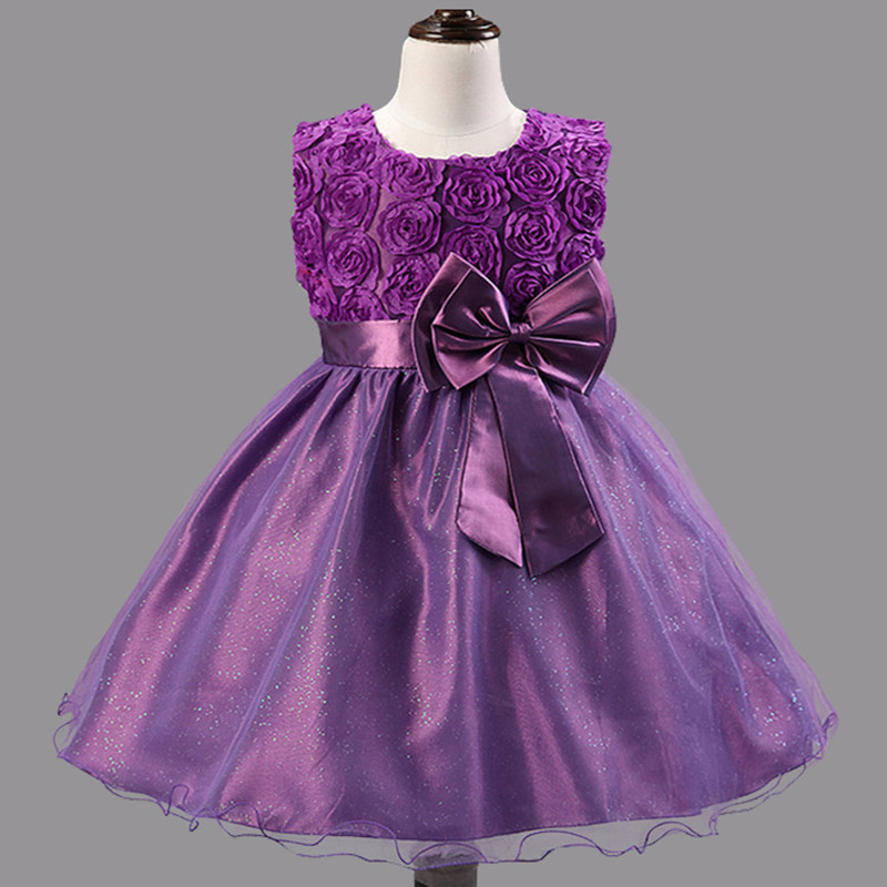 Girls 3D Flower Wedding Bridesmaid Party Dress Age 2 8 Years