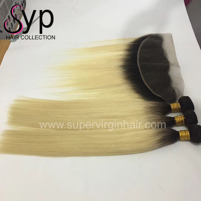 Blonde Human Hair 613 Bundle With Frontal Lace Frontal Closure 13x4 Extension Human Straight