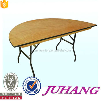 In Half Folding Designs Rubber Wood Oval Wooden Folding Dining Table