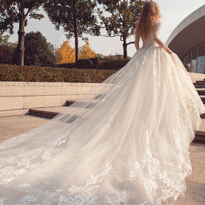 Romantic Wedding Dresses 2018 Long Sleeve Lace Applique Bridal Gowns Long Tail