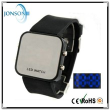Non-toxic mirror face silicone led watch unisex fashion wristwatch with 13 colors