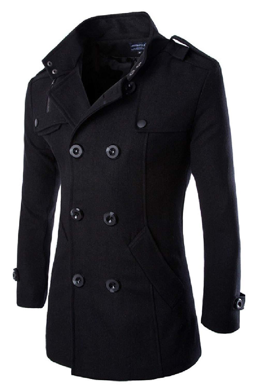 Abetteric Mens Wool Blend Wool Windproof Coat