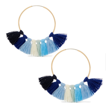 Wholesale Gold Jhumka Women Silk Thread Hoop Earring, New Lady Tassel Stud Earring Design Pictures