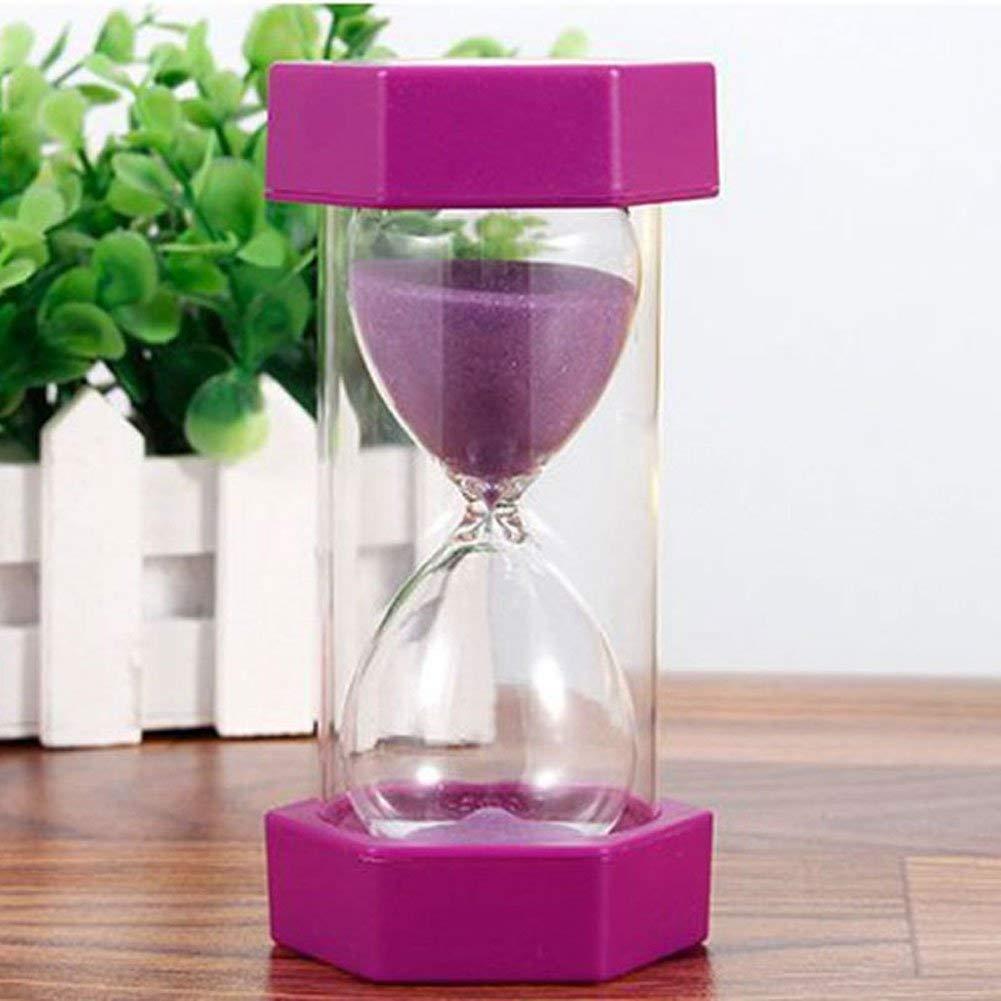 Sand Clock Timer Hexagonal Hourglass Sand Clock Timer 5/10/15 Minutes Sand Timer Clock for Kitchen Cooking Kids Games Home Office Decoration(15 min,Purple)