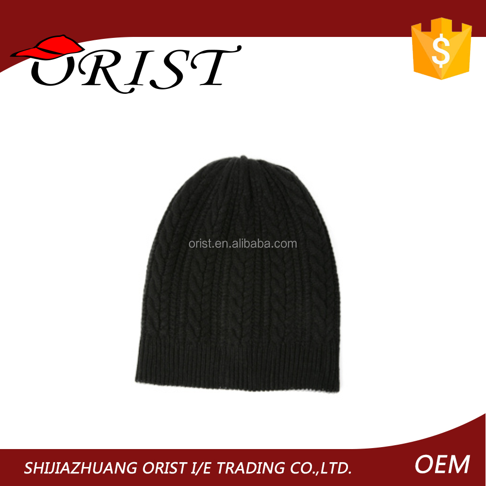 Simple high quality men black knitted beanie caps and hats