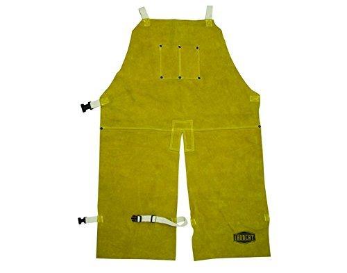 """West Chester IRONCAT 7011 Heat Resistant Split Cowhide Leather Welding Split Leg Bib Apron, 24"""" W x 36"""" L"""