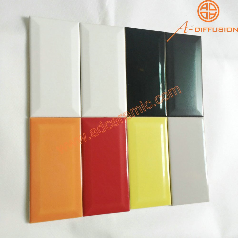 Rouge rectangle biseaut miroir carreaux de m tro 3x6 for Miroir 9 carreaux