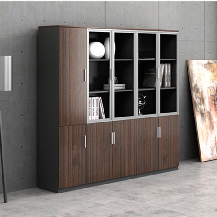 Classeur de bureau en bois avec porte vitrée