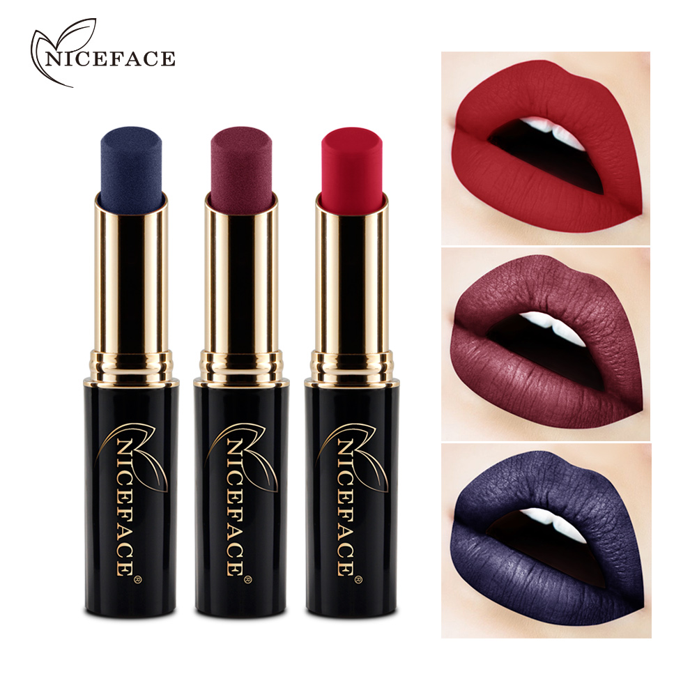 NICEFACE Makeup Metallic Lipsticks for Women Long Lasting Waterproof Pigment Blue Red glossy Lip Stick Makeup