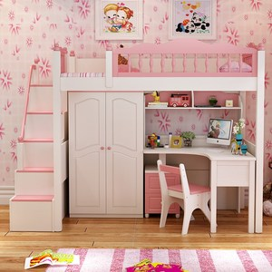 Cheap Price Princess Strong Stability Simple Design Wooden Kids Bunk Bed With Box Wardrobe Children Bedroom Furniture