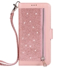 Zipper wallet case for Samsung Galaxy S7, 9 card slots sparkling case for Galaxy S7 Edge