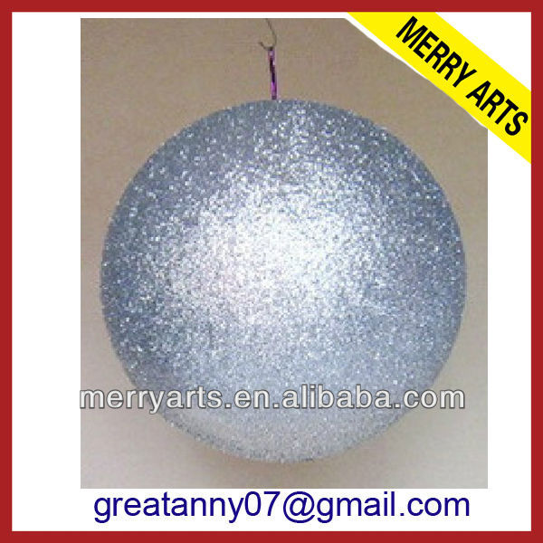 yiwu market hot sell plastic christmas hanging glitter large ball ornament