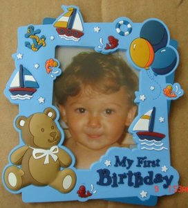 lovely baby frame photoes embossing cute bear 2D embossed rubber frame photoes