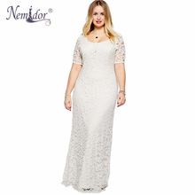Nemidor Women Elegant Casual Lace Dress Plus Size Black White Clothing XXL 3XL 4XL 5XL 6XL 7XL 8XL 9XL Plus Size Maxi Long Dress