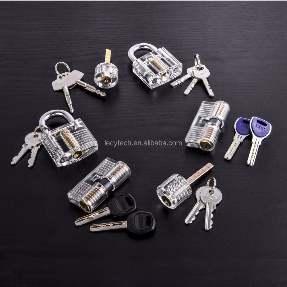 Lock pick set locksmith tools for 6pcs Locks Transparent Visible Cutaway Practice Kit