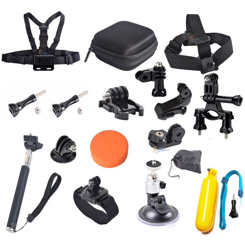 For Gopro Xiaomi Yi Monopod Tripod Adapter+Camera Case+Lens Cover+Bike Holder