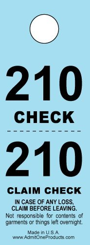Two-part Coat Room Checks -- Coat Check Tags -- 2 Part Blue -- 500 Count