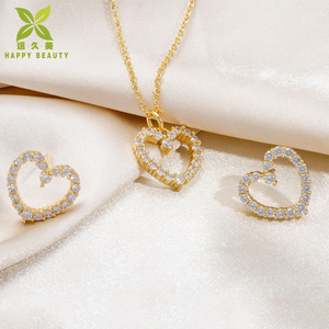 Fashionable gold plated heart pendant necklace and heart earring jewelry set