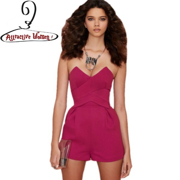 48d2c1910e31 Get Quotations · Hot sexy shorts rompers womens jumpsuit 2015 summer  fashion playsuit macacao Rosy Strapless V Neck Rompers