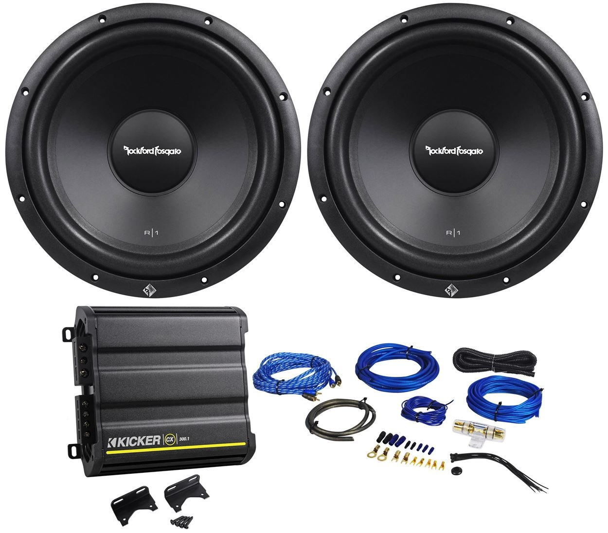 Cheap Car Amplifier Rockford Fosgate Find Stereo Kit 800w Sub 500w 2 Channel Capacitor Wiring Get Quotations R1s4 12 Subwoofers Kicker 43cxa3001