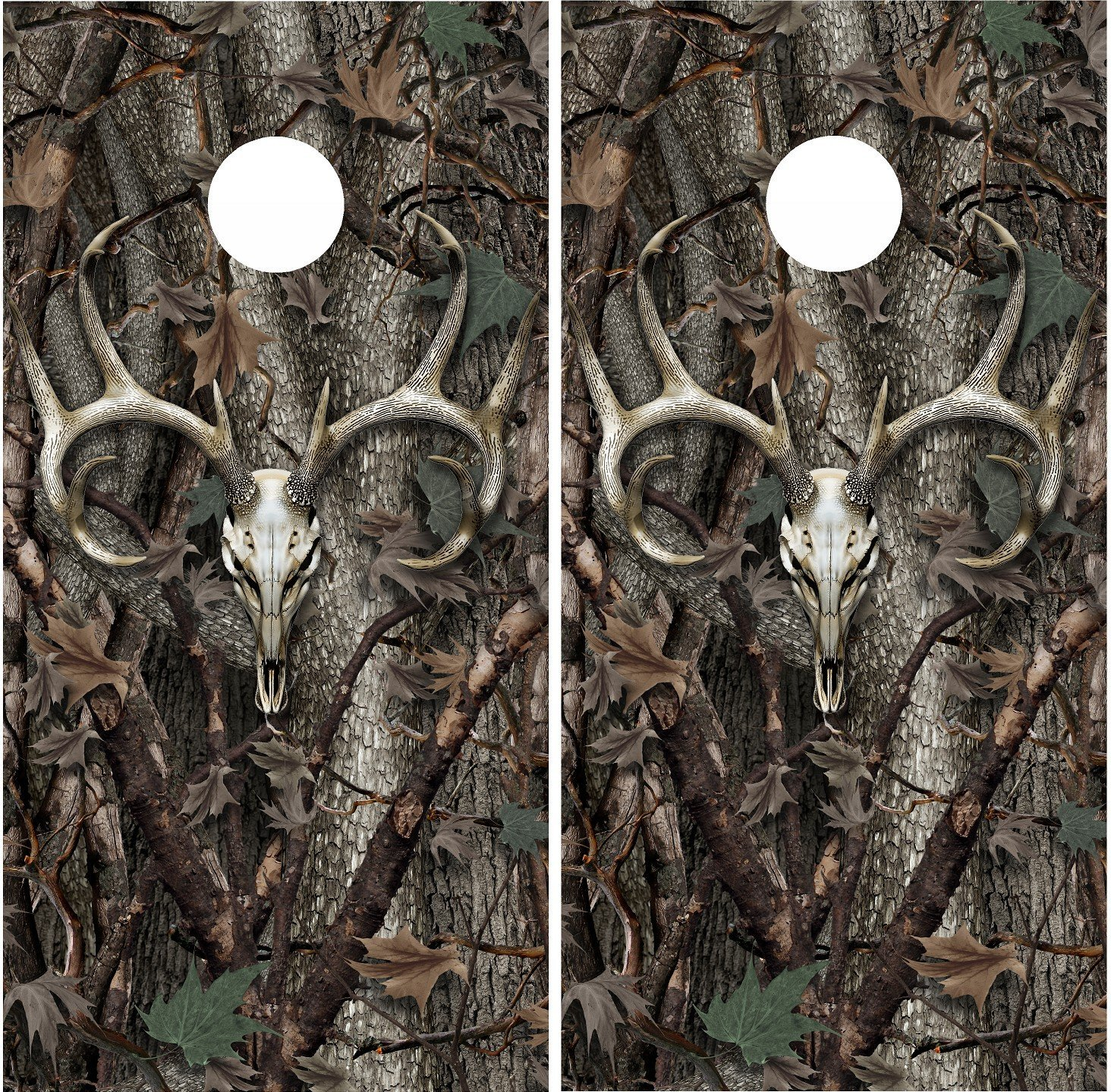 Deer skull hunting camouflage cornhole board game decal wraps