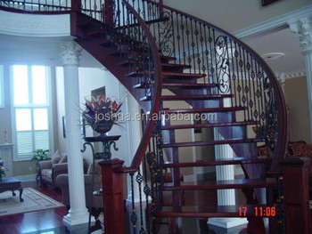 Wood Curved Staircases With Wrought Iron Balusters
