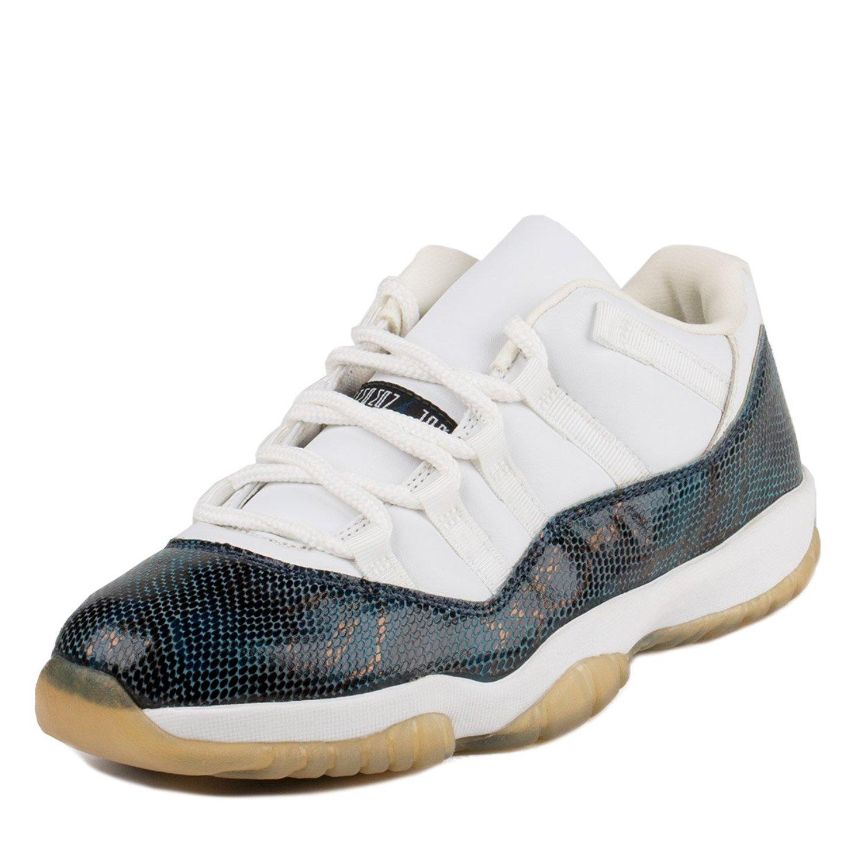 Nike Mens Air Jordan 11 Snake Low White/Black-Navy Leather Size 8.5