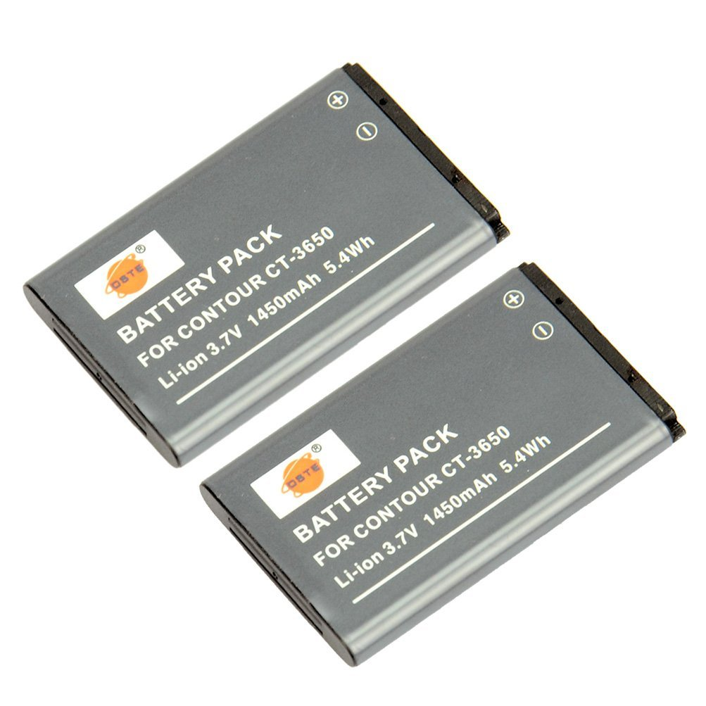 DSTE 2x CT-3650 Replacement Li-ion Battery for Vholdr ContourHD 720P 1080P HD1200 HD1300 HD1500 HD2035 HD2450 HD3200 HD3300 ContourGPS Contour2+ Camera