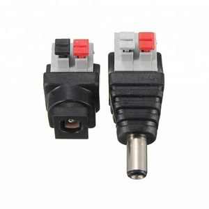 DC Female Male 2.1mm Screwless Connectors Terminal Block with Push Button 2PIN Connector
