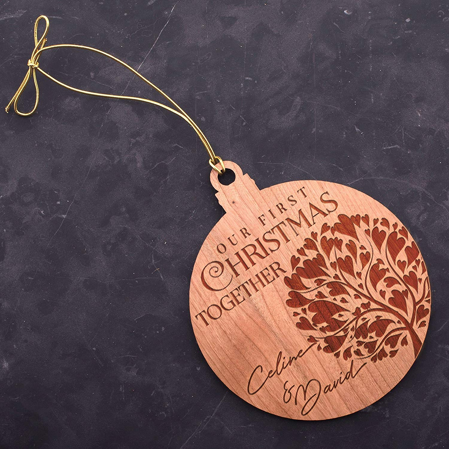 """Lily's Atelier Personalized Our First Christmas Wooden Laser Engraved Christmas Tree Ornaments 4.8"""" D2"""